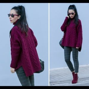 Burgundy side slit oversized Turtle neck